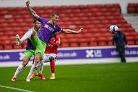 3rd October 2020; City Ground, Nottinghamshire, Midlands, England; English Football League Championship Football, Nottingham Forest versus Bristol City; Alfie Mawson of Bristol City defends a high ball