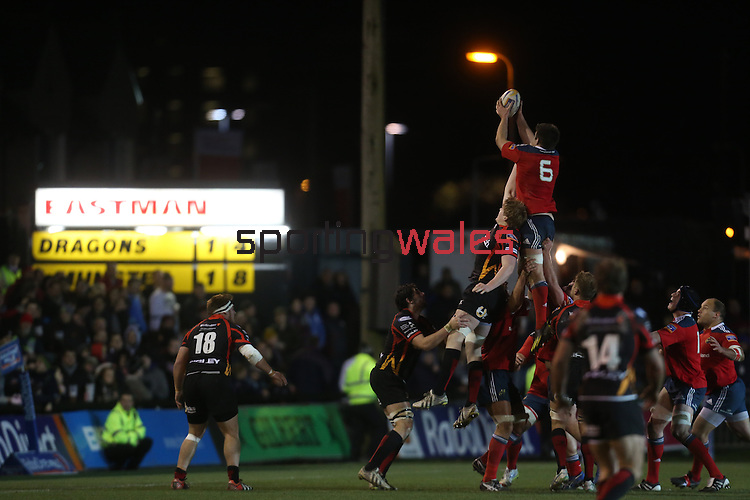 Munster flanker Billy Holland wins the line out ball.<br /> RaboDirect Pro12<br /> Newport Gwent Dragons v Munster<br /> Rodney Parade - Newport<br /> 29.11.13<br /> ©Steve Pope-SPORTINGWALES