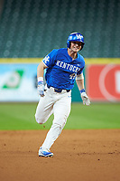 Ryan Shinn (44) of the Kentucky Wildcats hustles towards third base against the against the Louisiana Ragin' Cajuns in game seven of the 2018 Shriners Hospitals for Children College Classic at Minute Maid Park on March 4, 2018 in Houston, Texas.  The Wildcats defeated the Ragin' Cajuns 10-4. (Brian Westerholt/Four Seam Images)