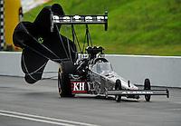 Jun. 18, 2011; Bristol, TN, USA: NHRA top fuel dragster driver Larry Dixon during qualifying for the Thunder Valley Nationals at Bristol Dragway. Mandatory Credit: Mark J. Rebilas-