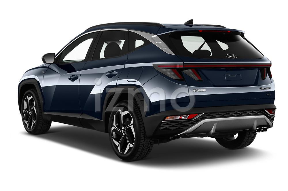 Car pictures of rear three quarter view of 2021 Hyundai Tucson Shine 5 Door SUV Angular Rear