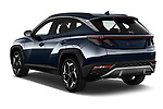 Car pictures of rear three quarter view of 2021 Hyundai Tucson Shine 5 Door SUV Angular Rear