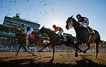 ARCADIA, CA - FEBRUARY 06: Imperative #7, ridden by Mike Smith, Hoppertunity #5, ridden by Flavian Prat, and Hard Aces #4, ridden by Joe Talamo battle for position during the running of the San Antonio Stakes at Santa Anita Park on February 06, 2016 in Arcadia, California. (Photo by Alex Evers/Eclipse Sportswire/Getty Images)