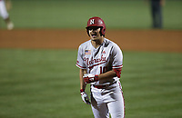 Nebraska Leighton Banjoff (10) reacts after being struck out, Saturday, June 5, 2021 during the seventh inning in the second game of the NCAA Fayetteville Regional at Baum-Walker Stadium in Fayetteville. Check out nwaonline.com/210606Daily/ for today's photo gallery. <br /> (NWA Democrat-Gazette/Charlie Kaijo)
