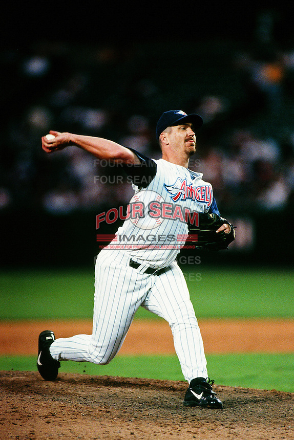 Troy Percival of the Anaheim Angels during a game circa 1999 at Angel Stadium in Anaheim, California. (Larry Goren/Four Seam Images)