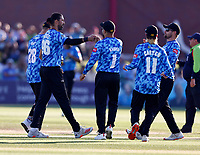 David Wiese (2nd L) of Sussex is congratulated after taking the wicket of Zak Crawley  during Kent Spitfires vs Sussex Sharks, Vitality Blast T20 Cricket at The Spitfire Ground on 18th July 2021