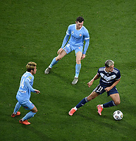 6th June 2021; AAMI Park, Melbourne, Victoria, Australia; A League Football, Melbourne Victory versus Melbourne City; Ben Folami of the Victory breaks away from Naoki Tsubaki and Aiden O'Neill of Melbourne City