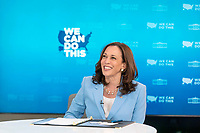 Vice President Kamala Harris delivers remarks during a virtual Vaccine Month of Action Partners Call, Thursday, June 24, 2021, in the South Court Auditorium of the Eisenhower Executive Office Building at the White House. (Official White House Photo by Lawrence Jackson)