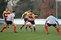 Jake Parker of Richmond Rugby attacks with the ball during the English National League match between Richmond and Blackheath  at Richmond Athletic Ground, Richmond, United Kingdom on 4 January 2020. Photo by Carlton Myrie.