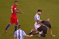 Action photo during the match Argentina vs Chile corresponding to the Final of America Cup Centenary 2016, at MetLife Stadium.<br /> <br /> Foto durante al partido Argentina vs Chile cprresponidente a la Final de la Copa America Centenario USA 2016 en el Estadio MetLife , en la foto:(i-d)Lionel Messi de Argentina y Arturo Vidal de Chile<br /> <br /> <br /> 26/06/2016/MEXSPORT/JAVIER RAMIREZ