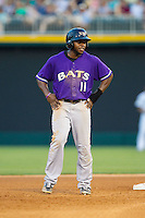 Jason Bourgeois (11) of the Louisville Bats takes his lead off of second base against the Charlotte Knights at BB&T Ballpark on June 26, 2014 in Charlotte, North Carolina.  The Bats defeated the Knights 6-4.  (Brian Westerholt/Four Seam Images)