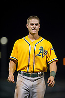 AZL Athletics left fielder Ben Spitznagel (18) between innings during a game against the AZL Cubs on August 9, 2017 at Sloan Park in Mesa, Arizona. AZL Athletics defeated the AZL Cubs 7-2. (Zachary Lucy/Four Seam Images)