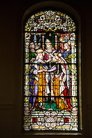 French Quarter, New Orleans, Louisiana.  St. Louis Basilica Stained Glass Window (1929) Depicting King Louis IX of France Marrying Marguerite of Provence.