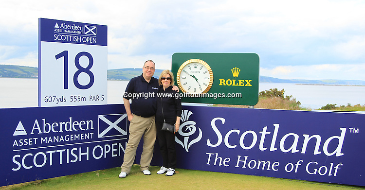 Scotland's First Minister, The Rt Hon. Alex Salmond and his wife Moir during the third round of the 2012 Aberdeen Asset Management Scottish Open being played over the links at Castle Stuart, Inverness, Scotland from 12th to 15th July 2012:  Stuart Adams www.golftourimages.com:14th July 2012