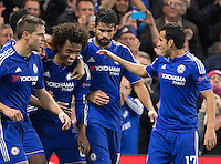 Celebrations following Willian (2nd left)  of Chelsea goal making it Willian of Chelsea during the UEFA Champions League Group G match between Chelsea and Dynamo Kyiv at Stamford Bridge, London, England on 4 November 2015. Photo by Andy Rowland.