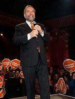 NDP Leader Thomas Mulcair  return to Montreal for the last rally of the election, Sunday, October 18th at 5:00 pm at<br /> L'Olympia de Montreal.<br /> <br /> PHOTO : Michel Karpoff<br /> - Agence Quebec Presse