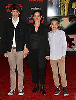"""Carrie-Anne Moss & sons Jaden Roy & Owen Roy at the world premiere for """"Star Wars: The Last Jedi"""" at The Shrine Auditorium. Los Angeles, USA 09 December  2017<br /> Picture: Paul Smith/Featureflash/SilverHub 0208 004 5359 sales@silverhubmedia.com"""