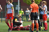 injury for Liesa Capiau (15) of Zulte Waregem  pictured during a female soccer game between SV Zulte - Waregem and White Star Woluwe on the 10 th and last matchday in play off 2 of the 2020 - 2021 season of Belgian Scooore Womens Super League , saturday 29 of May 2021  in Zulte , Belgium . PHOTO SPORTPIX.BE | SPP | DIRK VUYLSTEKE