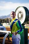 October 04 2014: Jockey, Olivier Doleuze celebrates a win aboard import Rich Tapestry in the Santa Anita Sprint Championship at Santa Anita Park in Arcadia CA. Alex Evers/ESW/CSM