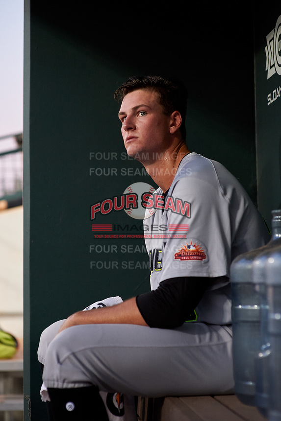 Peoria Javelinas Forrest Whitley (39), of the Houston Astros organization, waits in the dugout during an Arizona Fall League game against the Mesa Solar Sox on September 21, 2019 at Sloan Park in Mesa, Arizona. (Zachary Lucy/Four Seam Images)
