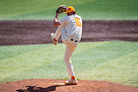 Tennessee Volunteers relief pitcher Camden Sewell (16) delivers a pitch to the plate against the Florida Gators on Robert M. Lindsay Field at Lindsey Nelson Stadium on April 11, 2021, in Knoxville, Tennessee. (Danny Parker/Four Seam Images)