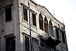 July 2010, LEBANON:  A bullet riddled building facade from the days of the civil war near the Rue Monot in Achrafiye,Beirut.   Picture by Graham Crouch