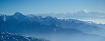 Aerial view of Kangchenjunga (28,169 feet/8,586 meters) on the right and Makula (27,824 feet/8,481 meters) in the left foreground, Nepal