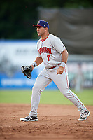 Auburn Doubledays first baseman Conner Simonetti (7) during a game against the Batavia Muckdogs on June 19, 2017 at Dwyer Stadium in Batavia, New York.  Batavia defeated Auburn 8-2 in both teams opening game of the season.  (Mike Janes/Four Seam Images)