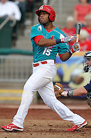 Xavier Scruggs (15) of the Springfield Cardinals swings a pitch against the Corpus Christi Hooks at Hammons Field on August 19, 2012 in Springfield, Missouri.(Dennis Hubbard/Four Seam Images)