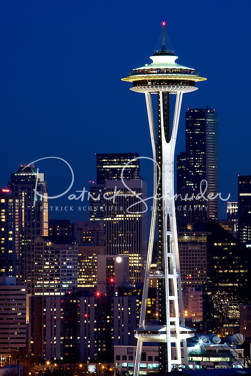 The Space Needle dominates the skyline in Seattle Washington.