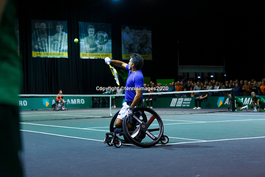 Rotterdam, The Netherlands, 14 Februari 2020, ABNAMRO World Tennis Tournament, Ahoy, <br /> Wheelchair Doubles: Stephane Houdet (FRA).<br /> Photo: www.tennisimages.com