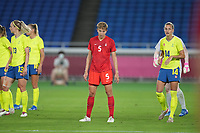 YOKOHAMA, JAPAN - AUGUST 6: Quinn #5 of Canada during a game between Canada and Sweden at International Stadium Yokohama on August 6, 2021 in Yokohama, Japan.