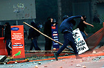 Students clash with the police outside the University of Antioquia in Medellin