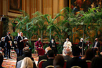 """Alok Sharma, president of the 2021 U.N. Climate Change Conference, addresses the meeting, """"Faith and Science: Towards COP26,"""" attended by Pope Francis and other religious leaders in the Hall of Benedictions at the Vatican Oct. 4, 2021. The meeting was part of the run-up to the U.N. Climate Change Conference, called COP26, in Glasgow, Scotland, Oct. 31 to Nov. 12, 2021."""