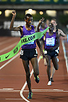 Yomif Kejelcha of Ethiopia crosses the finish line to win the Men's 5000 meters on the opening day of the Prefontaine Classic at Hayward Field in Eugene, Oregon, USA, 29 MAY 2015. (EPA Photo by Steve Dykes)