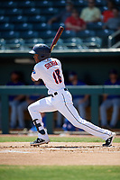 Jacksonville Jumbo Shrimp Magneuris Sierra (18) at bat during a Southern League game against the Tennessee Smokies on April 29, 2019 at Baseball Grounds of Jacksonville in Jacksonville, Florida.  Tennessee defeated Jacksonville 4-1.  (Mike Janes/Four Seam Images)