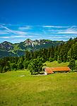Deutschland, Bayern, Chiemgau, oberhalb von  Schleching: die Donauer Alm voir den Gipfel Breitenstein (links) und Geigelstein (rechts) der Chiemgauer Alpen, am Wanderweg gegenueber ist die Wuhrsteinalm zu erkennen | Germany, Bavaria, Chiemgau, above Schleching: alpine pasture hut 'Donauer Alm' and summits Breitenstein (left) and Geigelstein (right) of Chiemgau Alps, opposite visible alpine pasture hut 'Wuhrsteinalm'