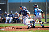 Tampa Bay Rays Grant Kay (50) at bat in front of catcher Luke Maile during a minor league Spring Training intrasquad game on April 1, 2016 at Charlotte Sports Park in Port Charlotte, Florida.  (Mike Janes/Four Seam Images)