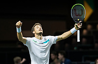 Rotterdam, The Netherlands, 9 Februari 2020, ABNAMRO World Tennis Tournament, Ahoy, Pablo Carreno Busta (ESP) celebrates his win.<br />
