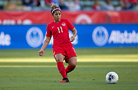 CARSON, CA - FEBRUARY 07: Desiree Scott #11 of Canada passes off the ball during a game between Canada and Costa Rica at Dignity Health Sports Park on February 07, 2020 in Carson, California.