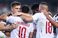 Krzysztof Piatek of AC Milan celebrates with team mates after scoring the victory goal <br /> Verona 15/09/2019 Stadio Bentegodi <br /> Football Serie A 2019/2020 <br /> Hellas Verona - AC Milan <br /> Photo Image Sport / Insidefoto
