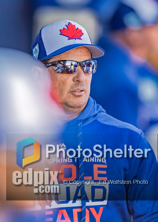 6 March 2019: Toronto Blue Jays Manager Carlos Montoyo walks the dugout during a Spring Training game against the Philadelphia Phillies at Dunedin Stadium in Dunedin, Florida. The Blue Jays defeated the Phillies 9-7 in Grapefruit League play. Mandatory Credit: Ed Wolfstein Photo *** RAW (NEF) Image File Available ***