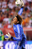 Mexico goalkeeper Guillermo Ochoa (1). The men's national teams of the United States (USA) and Mexico (MEX) played to a 1-1 tie during an international friendly at Lincoln Financial Field in Philadelphia, PA, on August 10, 2011.