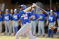 Wesley Rogers (22) of the Spartanburg Methodist College Pioneers in a junior college game against Lenoir Community College on February 2, 2014, at Mooneyham Field in Spartanburg, South Carolina. (Tom Priddy/Four Seam Images)