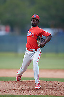 Philadelphia Phillies pitcher Oscar Marcelino (70) during a Minor League Extended Spring Training game against the Atlanta Braves on April 20, 2018 at Carpenter Complex in Clearwater, Florida.  (Mike Janes/Four Seam Images)