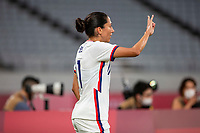 TOKYO, JAPAN - JULY 21: Christen Press #11 of the United States signals before taking a corner during a game between Sweden and USWNT at Tokyo Stadium on July 21, 2021 in Tokyo, Japan.