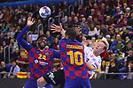VELUX EHF 2019/20 EHF Men's Champions League Group Phase - Round 8.<br /> FC Barcelona vs Aalborg Handbold: 44-35.<br /> Dika Mem, Janus Dadi Smarason & Cedric Sorhaindo.