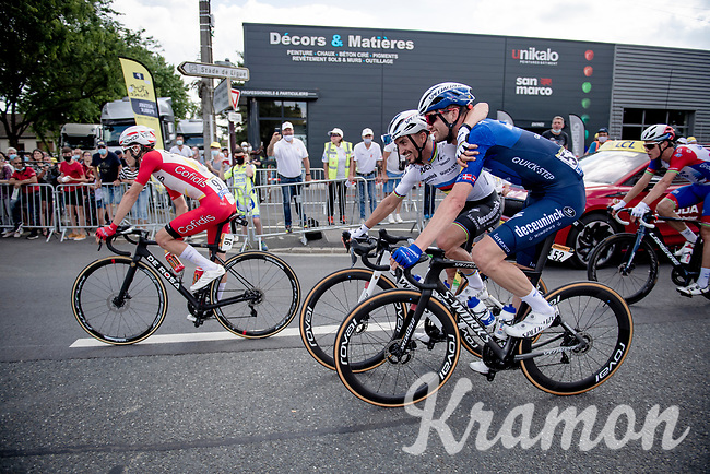 Lots of joyous emotions at Team Deceuninck-Quickstep as Mark Cavendish (GBR/Deceuninck - Quick Step) wins his 2nd stage in this Tour.<br /> World Champion Julian Alaphilippe (FRA/Deceuninck - QuickStep) & Kasper Asgreen (DEN/Deceuninck - Quick Step) rolling over the finish line celebrating.<br /> <br />  Stage 6 from Tours to Châteauroux (160km)<br /> 108th Tour de France 2021 (2.UWT)<br /> <br /> ©kramon