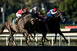 January 30, 2021: Medina Spirit and Able Cedillo defeat defeats Hot Rod Charlie (center ) and Roman Centaurian to win the Bob Lewis Stakes at Santa Anita Park in Arcadia, California on January 30, 2021. Evers/Eclipse Sportswire/CSM