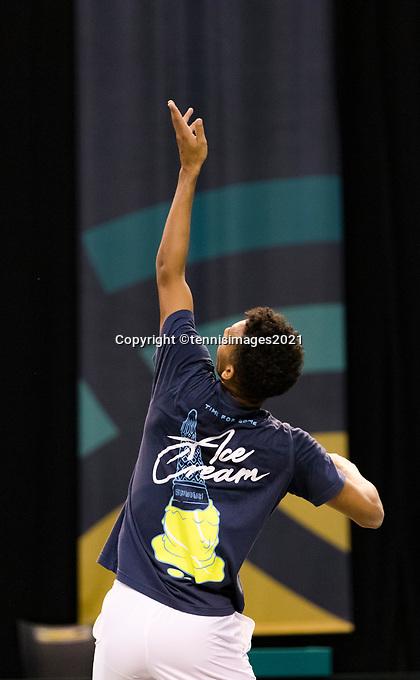 Rotterdam, The Netherlands, 28 Februari 2021, ABNAMRO World Tennis Tournament, Ahoy, Practice. Felix Auger-Aliassime (CAN).<br /> Photo: www.tennisimages.com